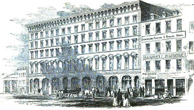 A sketch from the 1858 Boston Almanac of the Phoenix Building, formerly attached to the City Exchange building on Devonshire Street.